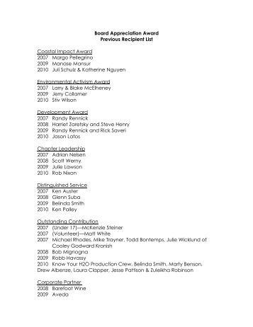 Board Appreciation Award Previous Recipient List Coastal Impact ...