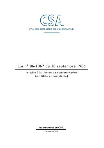 Loi n° 86-1067 du 30 septembre 1986 - Organisation internationale ...