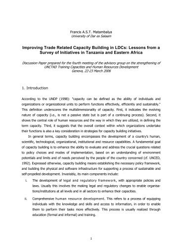 Improving Trade Related Capacity Building in LDCs - Ministry Of ...
