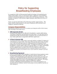 Policy for supporting breastfeeding employees - WomensHealth.gov