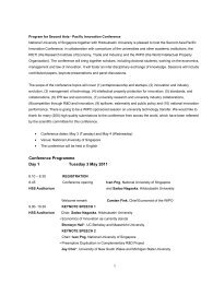 Program for Second Asia - Pacific Innovation Conference