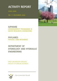 activity report - Physical Land Resources - Vrije Universiteit Brussel