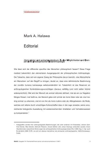 Mark A. Halawa - Homo pictor und animal symbolicum. Zu den ...