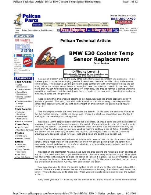 BMW E30 Coolant Temp Sensor Replacement - Brian David Bernard