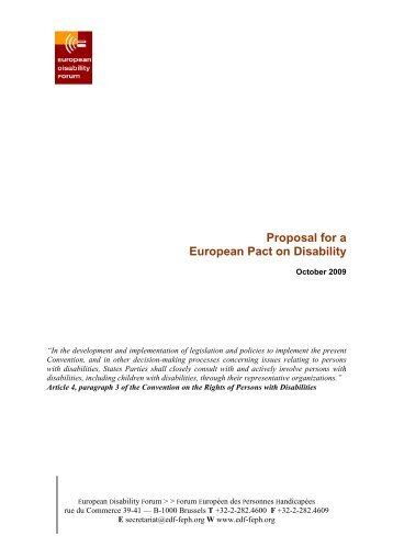 Proposal for a European Pact on Disability - CFHE