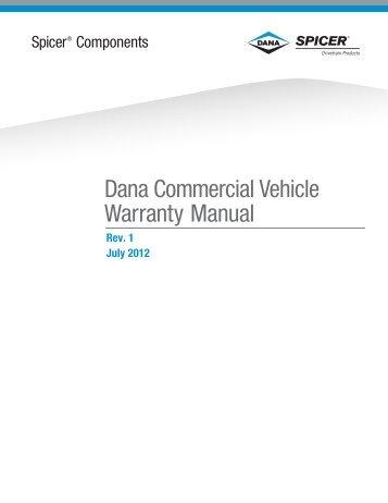 dana commercial vehicle warranty manual july, 2012