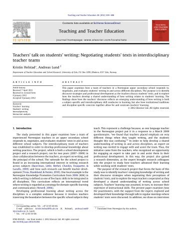 Teachers' talk on students' writing: Negotiating students' texts in ...