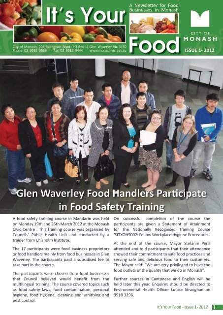 It's your food - issue 1, 2012 - City of Monash