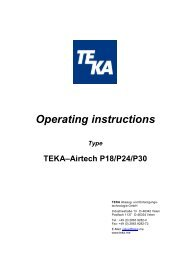 Operating instructions - TEKA GmbH