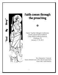 Faith comes through the preaching the preaching - The South ...