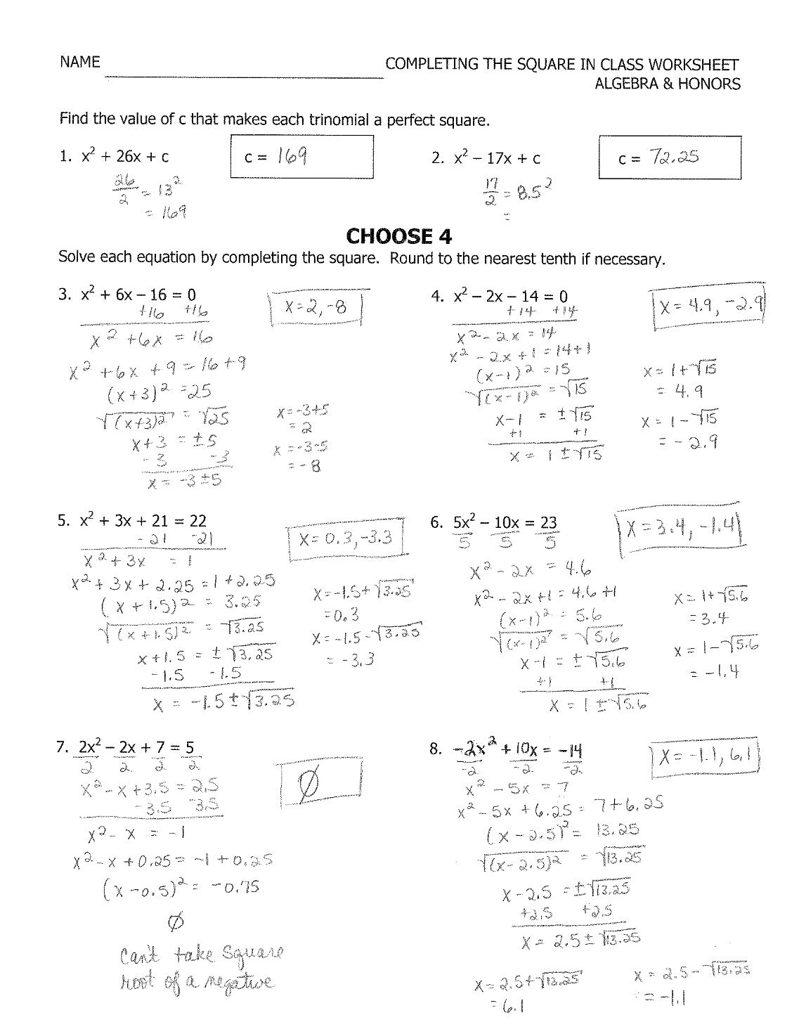Worksheets Complete The Square Worksheet complete the square worksheet equivalent fractions blank 10 free magazines from fcpickeringtonk12ohus algebra honors completing in class name fcpickeringtonk12ohus