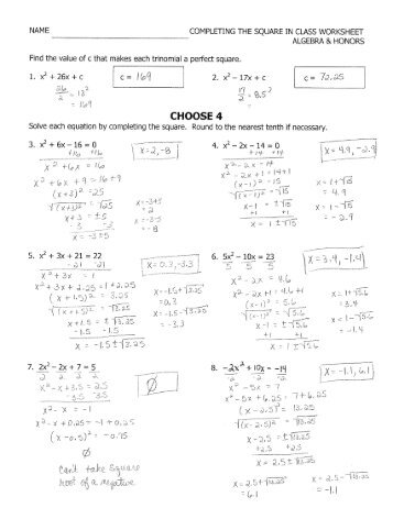 Algebra 2 Completing The Square Worksheet - Templates and Worksheets