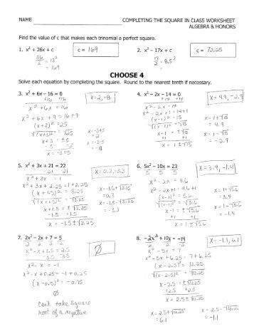 Printables Algebra 1 Honors Worksheets honors algebra 2 summer worksheet due the first day of class completing square in name