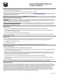 Chevron Humankind Match Request Form for Retiree Contributions