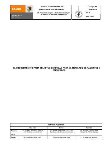 28. procedimiento para solicitud de unidad para el traslado de ...