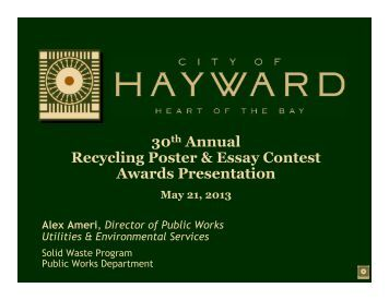 City hayward recycling poster essay contest