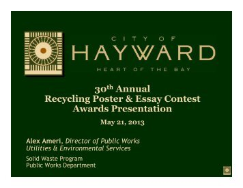 30th Annual Recycling Poster & Essay Contest Awards Presentation