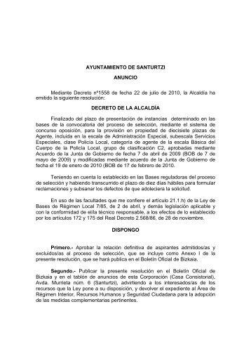 AYUNTAMIENTO DE SANTURTZI ANUNCIO Mediante Decreto ...