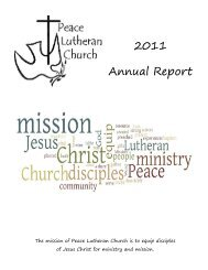2011 Annual Report - Peace Lutheran Church, Fort Myers, Florida