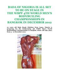bada of nigeria is all set to be on stage in the wbpf 4th world ... - ABBF