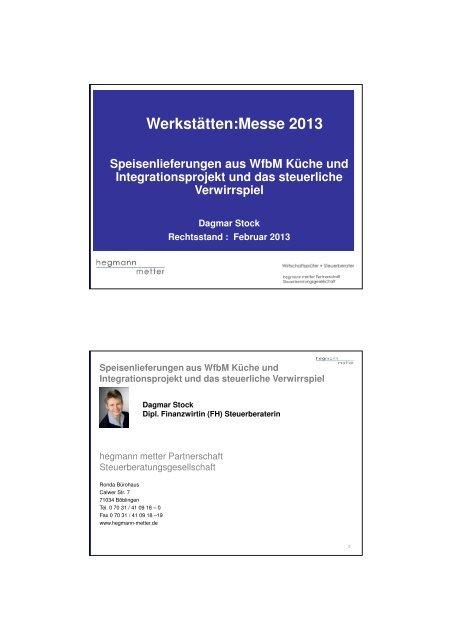 Werkstätten:Messe 2013 Speisenlieferungen aus WfbM Küche und ...