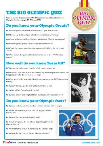 the big olympic quiz big olympic quiz - First News