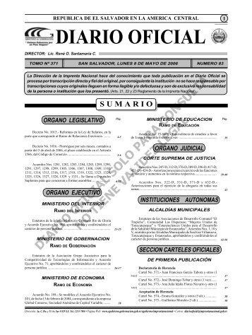 Ver - Diario Oficial de la República de El Salvador