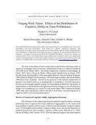 Forging Work Teams: Effects of the Distribution of ... - Xavier University