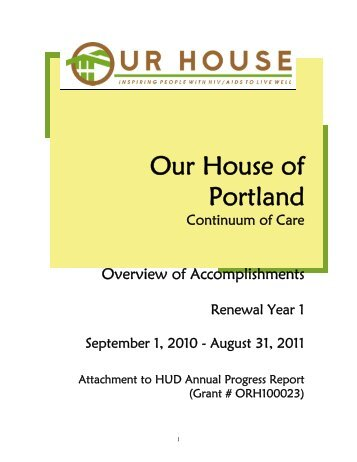 Our House - 2011 HUD Progress Report Attachment