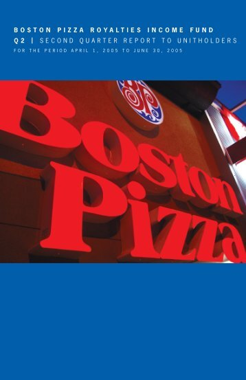 2005 Second Quarter Report - Boston Pizza Royalties Income Fund
