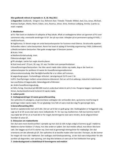 Referat af repræsentantskabsmøde 7 maj - fadl.dk