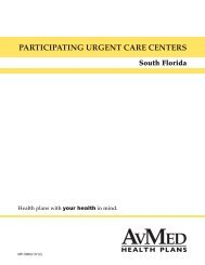 PARTICIPATING URGENT CARE CENTERS - AvMed