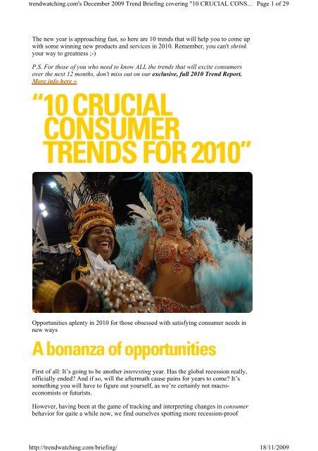 Trendwatching. - Ten crucial consumer trends for 2010 - nov 2009