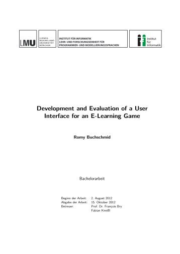 Development and Evaluation of a User Interface for an E-Learning ...