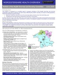 worcestershire health overview - Worcestershire County Council