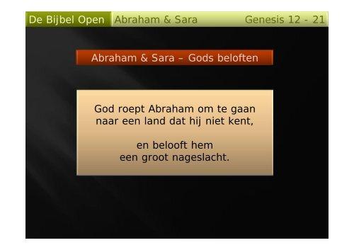 De Bijbel Open Genesis 12 - 21 Abraham & Sara ... - Debijbelopen.nl