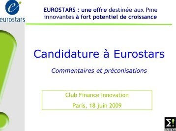 EUROSTARS - Finance Innovation
