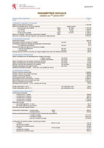 Paramètres sociaux valables au 1er janvier 2011