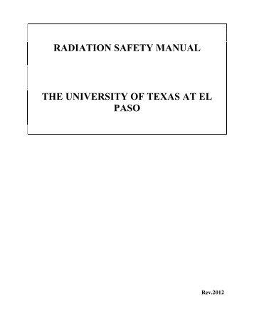 radiation safety manual the university of texas at el paso