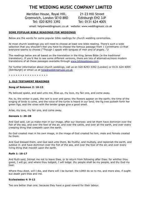 1 Corinthians 13 Wedding Reading.Popular Readings For Church Ceremonies The Wedding Music