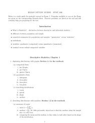 EXAM I STUDY GUIDE – STAT 226 Introduction Descriptive ...
