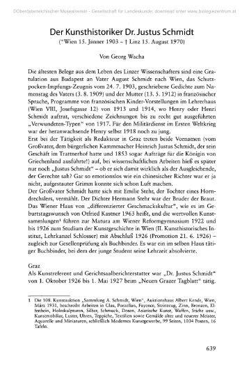 Der Kunsthistoriker Dr. Justus Schmidt - Oberösterreichisches ...