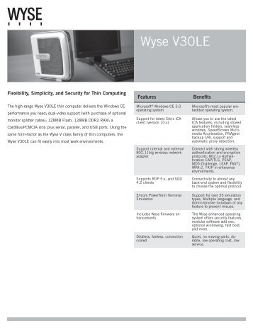 Wyse V30LE Datasheet - Wyse Outlet Store