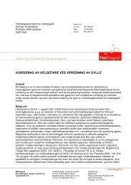 Bestilling fra Mattilsynet - Vitenskapskomiteen for mattrygghet
