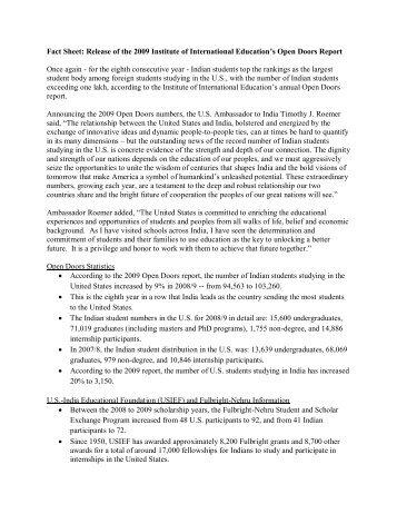 Fact Sheet: Release of the 2009 Institute of International ... - New Delhi