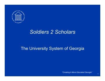 Soldiers 2 Scholars - University System of Georgia