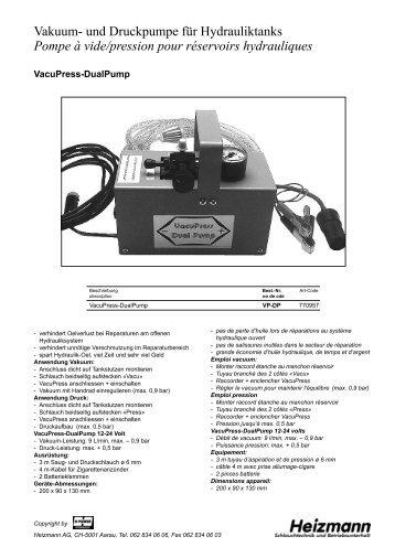 Vakuum- und Druckpumpe für Hydrauliktanks 12-24 ... - Heizmann AG