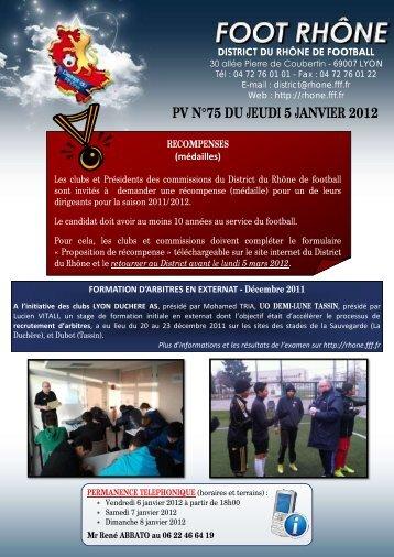 PV N°75 DU JEUDI 5 JANVIER 2012