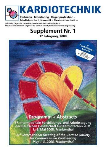 Supplement Nr. 1 - Deutsche Gesellschaft für Kardiotechnik eV