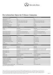 Die technischen Daten der E-Klasse Limousine. - Mercedes-Benz ...